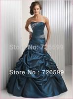 Free shipping 2015 New Fashion Long Blue A-Line Taffeta Beaded Wedding Party Dresses Evening Dresses Prom Dresses Custom Made