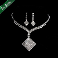 Elegant Rhinestone Crystal Necklace Earrings Bride Jewelry Set  For Wedding Party
