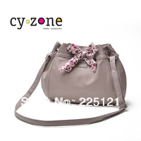HOT SELLING!Brief small fresh pinkish purple drawstring bow bucket women's handbag shoulder bag messenger bag