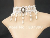 Snow White Lace Necklace sexy Pearl  Lace Necklace necklaces bridal dress accessories  Wedding decoration Free Shipping