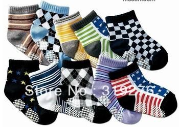10pair/lot (20pcs=10pairs) wholesale free shipping  0-3years Anti slip baby socks infant socks boy socks toddler's socks