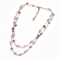 2014 [min 15usd] _ fashion glass beads multi-colored chain link necklace freshwater pearl double layer choker designer jewelry