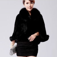 2013 faux fur wool cloak outerwear