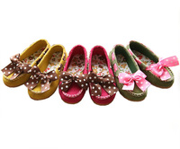 1Pair Non-Slip Sole Cute Suede Children comfortable Shoes Kids anti-skidding Princess Girl Polka Dot Bow Casual Flat Shoes TX005