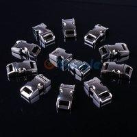 "10 Packs / Lot 3/8"" (10mm) Metal Side Release Buckle Shackle for Paracord Bracelet Silver"