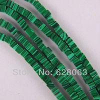 """4MM Green Malachite Cube Loose Beads Strand 16"""" Jewelry Making Free Shipping B007"""