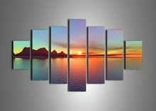 Free shipping handmade 7 piece landscape wall art oil painting on canvas sunset ocean pictures unique gift for home decoration(China (Mainland))