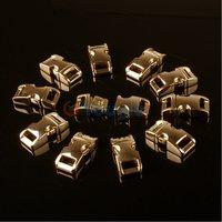 """10 Packs / Lot 3/8"""" (10mm) Metal Side Release Buckle Shackle for Paracord Bracelet Golden"""