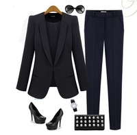 2013 New Autumn Fashion women blazer turn-down collar slim handsome suit jacket geometryThick XS---4XL Plus size free shipping