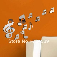 Free shipping!10 pcs/set creative musical note acrylic mirror wall stickers new bedroom decoration home decals for walls