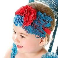 Wholesale children's hair accessories headband baby blue feather headdress red flower headband