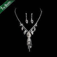 Luxurious emerald zircon cz diamond bright necklace earrings set jewelry wedding dinner party bride,silver plated