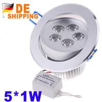 DE Stock To DE 5W 85-265V 450LM LED Ceiling Lamp 5 leds White Light LED Downlamp Celling Light DHL Free Shipping 2Pcs Wholesale