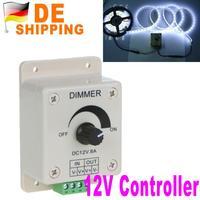 DE Stock To DE LED Dimmer Controller 12V Single Color Bright Adjust for 5050 3528 LED Light Strip DHL Free Shipping Wholesale