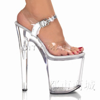 Tiangao 20cm bottom high-heeled shoes transparent crystal sandals sexy plus size thin heels