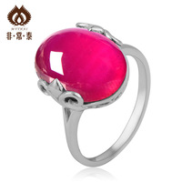 Girlfriend gift gifts 925 pure silver thai silver ring vintage Women ruby ring,Jade ring moon stone