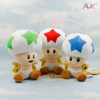 "Free Shipping 3pcs/set 3 Colours Mario Bros STAR Mushroom Plush Doll Toad 7"" Green,Blue,Red Wholesale"