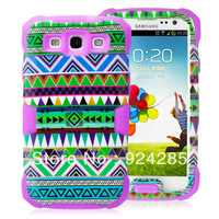 Fashionable Green Tribal Pattern 2in1 Hybrid Snap On Cover Series for I9300 Galaxy SIII  Night Light Case