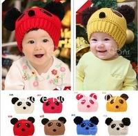10pcs/lot 8 colors fashion Baby Autumn & Winter double ball Bomber Hat winter hat panda earflap hat wool hat