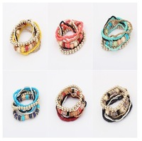 Wholesale Free Shipping 2013 New Fashion Multilayer Mixed Colors stretch Beaded Bohemian Lady Bracelet Bangle 12pcs/lot