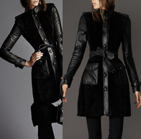 WOMENS Black fur leather design long overcoat   SLIM FIT LONG STYLE TRENCH DOUBLE BREASTED COAT JACKET