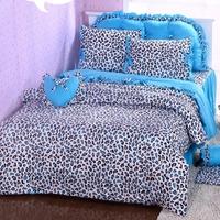 Queen bedding Princess bed skirt style four piece set cotton bow 4 100% blue leopard print  4pc