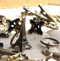 Wholesale Fashion Jewelry Eiffel Tower Charm Antique Bronze Vintage keychain Metal key ring