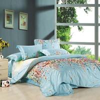 Queen bedding Textile piece bedding set reactive print cotton 100% ab 100% 4 cotton flower  4pc