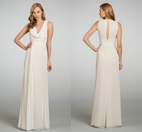 Free Shipping 2013 V Neck Light Champagne Chiffon Keyhole Back Formal Long Bridesmaid Dress