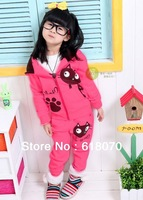 hot sell girl suits 2015 new suit for girls princess sets baby suit girl wear kid cat style clothing Wholesale