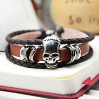 Top quality,2013 new fashion charming skull skeleton lovers cow leather bracelets & bangles for women and mens,Free shipping