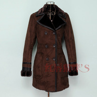 freeshipping Spring vintage slim thermal flock printing lining PU patchwork suede overcoat fabric leather clothing female