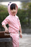 2014 New girls suit spring autumn Alphabet  velvet suit for girl fashionable casual sets kid's sports suit Wholesale