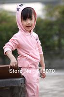 2015 New girls suit spring autumn Alphabet  velvet suit for girl fashionable casual sets kid's sports suit Wholesale