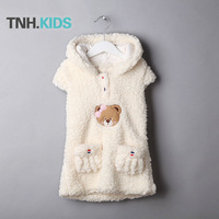 2013 girls clothing vest child wincey cartoon bear hooded casual baby vest