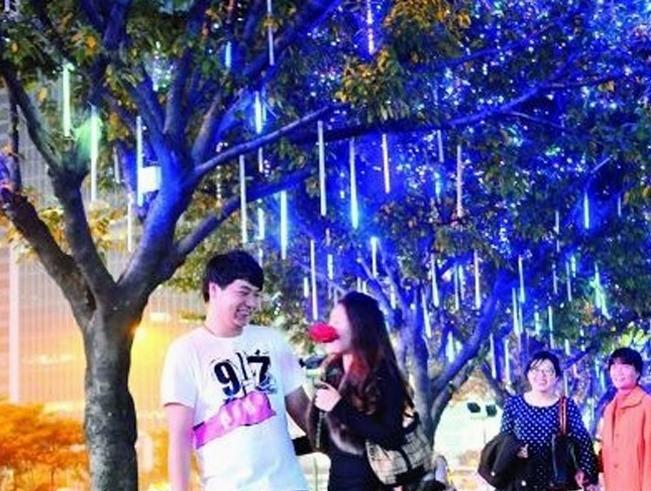 240 LED 8pcs 50cm tubes, LED meteor light Meteor shower tube lights Fake double sided 3 set / packing ,White Blue RGB color(China (Mainland))
