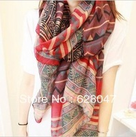 Free shipping 2 colors 2013 Korean version of the new national wind scarf women retro bohemian striped cotton scarf shawl