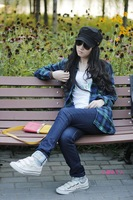 2013 autumn fashion Women shirt 100% cotton medium-long plus size plaid shirt female long-sleeve