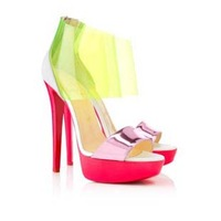 2013 transparent candy color shoes gladiator genuine leather Dufoura Canari PVC sandals 140mm platform pumps red bottom heels