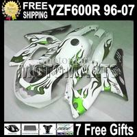 7gifts&Tank 96-07 For YAMAYA YZF600R  96 97 98 99 YZF 600R Green flames white 00 01 02 03 MT78 HOT YZF-600R 04 05 06 07 Fairing
