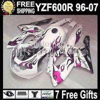 7gifts&Tank 96-07 For YAMAYA YZF600R Rose flames white  96 97 98 99 YZF 600R 00 01 02 03 Rose MT75 YZF-600R 04 05 06 07 Fairing