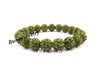 Olive Green 10mm Rhinestone Disco Ball Beaded Bracelet Valentine's Day Gift Women's Bracelet Free shipping Min.order is $10