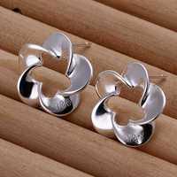 Free shipping 925 sterling silver jewelry earring fine twist hollow flower stud jewelry earring wholesale and retail SMTE190