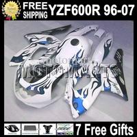 7gifts&Tank 96-07 For YAMAYA YZF600R  Blue flames white 96 97 98 99 YZF 600R 00 01 02 03 MT72 YZF-600R blue 04 05 06 07 Fairing