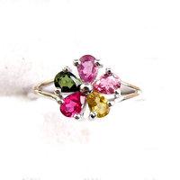 Summer beautiful five petal flower ring 925 silver inlaying natural tourmaline finger ring