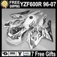 7gifts&Tank 96-07 Black white & flames For YAMAYA YZF600R  96 97 98 99 YZF 600R 00 01 02 03 MT80 YZF-600R 04 05 06 07 Fairing