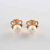 Small adorn article 18 k rose gold plated jewelry wholesale pearl earring bowknot is female