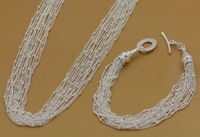 100% Positive Feedback,Silver Jewelry Set, Fashion Jewelry Sets Multi Lines Of Beads 2 Pieces Set Necklace/Bracelet
