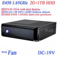 mediaserver mini pc with DVI-D VGA dual display fan 19V DC onboard AMD E450 1.65GHz dual core 2G RAM 1TB HDD windows or linux
