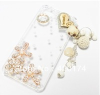 3D Bling Diamond Crystal Rhinestone Wooden Tassels Love Heart and Pearl Flower Transparent Hard Case Cover for Apple iPhone 5 5G